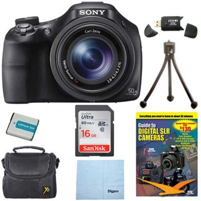 DSC-HX400V/B 50x Optiical Zoom 4K Stills Digital Camera 16GB Kit