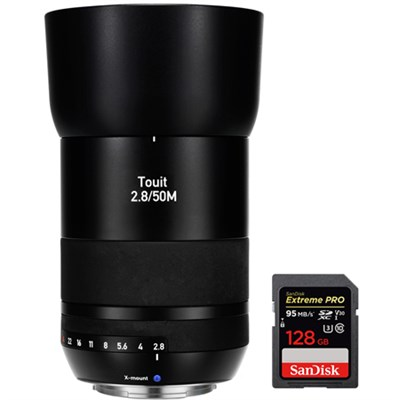 Touit 50mm f/2.8 Macro Sony E-Mount Lens with Sandisk 128GB Memory Card