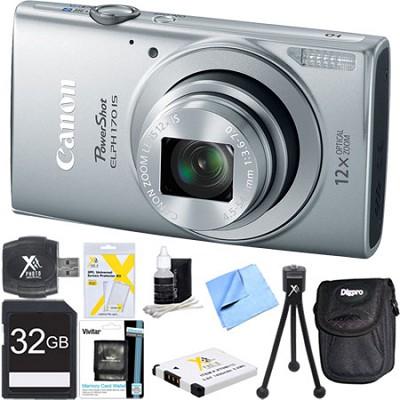 PowerShot ELPH 170 IS 20MP 12x Opt Zoom Digital Camera - Silver 32 GB Bundle
