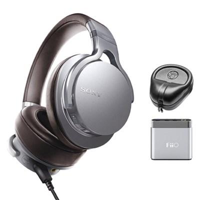 Premium Hi- Res Amp-Integrated Headphones - Silver w/ FiiO A1 Amplifier Bundle
