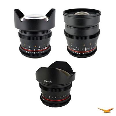 Sony E-Mount 3 Cine Lens Kit (14mm T3.1, 24mm T1.5, 8mm T3.8)