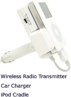 Car Charging Cradle + FM radio wireless transmitter for iPod & iPod mini