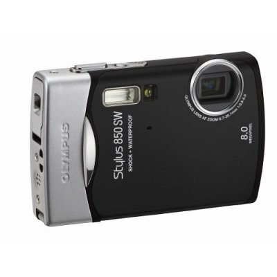 Stylus 850 SW 8MP Shockproof Waterproof Digital Camera (Black) - Open Box
