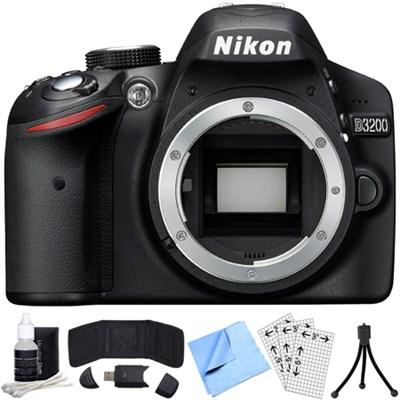 D3200 24.2MP 1080p DX-format Digital SLR Camera Body (Black) Refurbished Bundle