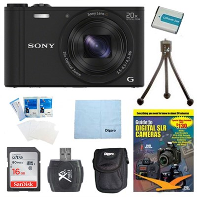Cyber-shot DSC-WX350 Digital Camera Black 16GB Kit