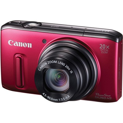 PowerShot SX260 HS Red Digital Camera 20x Optical Zoom 1080p Video