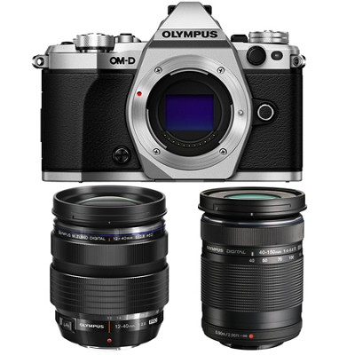 OM-D E-M5 Mark II Silver Digital Camera with 12-40mm and 40-150mm Lens Bundle