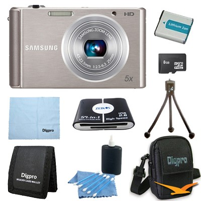 8 GB Bundle ST76 16 MP 5X Compact Digital Camera - Silver