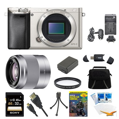 Alpha a6000 Silver Camera with 50mm Lens and 32GB Card Bundle