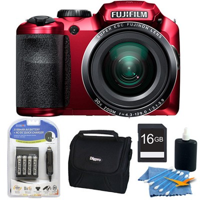 FinePix S6800 16 MP 30x Wide Angle Zoom Digital Camera Red 16GB Kit