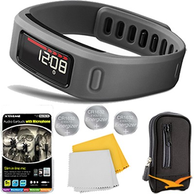 Vivofit Fitness Band Bundle with Heart Rate Monitor (Slate) Plus Deluxe Bundle