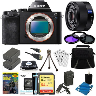 ILCE-7S/B a7S Full Frame Camera, 35mm Lens, 64GB SDHC Card, 2 Batteries Bundle