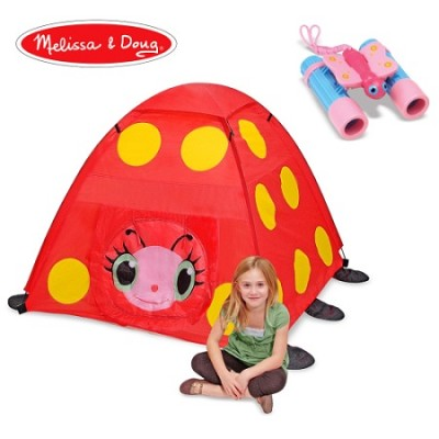 Red Ladybug Tent and Pink/Blue Kids Binoculars Bundle