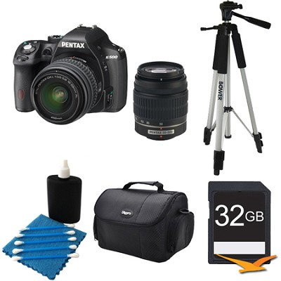 K-500 Digital SLR Camera Zoom Kit w/ DAL 18-55mm & 50-200mm Lens BLK 32GB Bundle