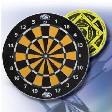17` Reversible Dart Board with 6 heavy-duty brass-tip darts