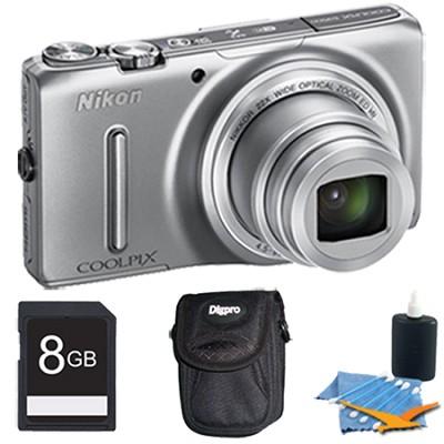 COOLPIX S9500 18.1 MP 22x Zoom Built-In Wi-Fi Digital Camera Silver Plus 8GB Kit