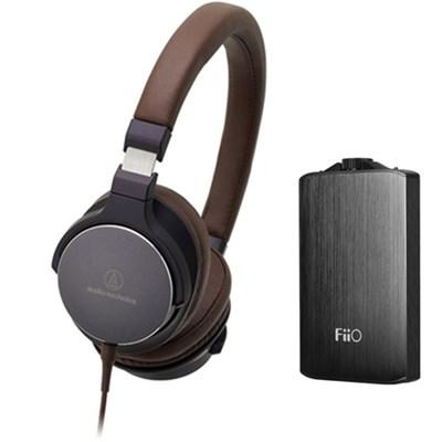 On-Ear High-Resolution Headphones w/ FiiO A3 Headphone Amplifier, Navy/Brown