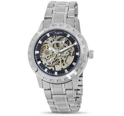 Classic Collection Mens Automatic Silver Skeleton Watch - 72086