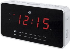 C308 AM/FM Dual Alarm Clock Radio with Nature Sounds (Silver)