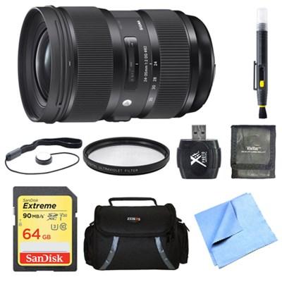 24-35mm F2 DG HSM Standard-Zoom Lens for Canon 64GB Bundle