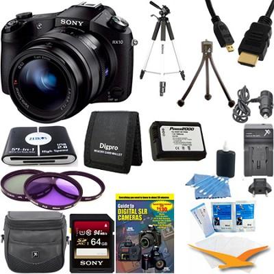 Cyber-shot DSC-RX10 Digital Camera 64 GB SDHC Card and Tripod Bundle