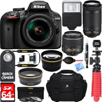 D3400 DSLR Camera w/ AF-P DX 18-55mm & 70-300mm Zoom Lens 64GB Accessory Bundle