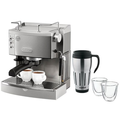 S.Steel Pump Espresso Maker w/ Thermo Espresso Glasses & Thermal Travel Mug