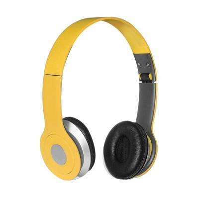 Foldable Over-the-head Headsets with Built-in-mic in Yellow