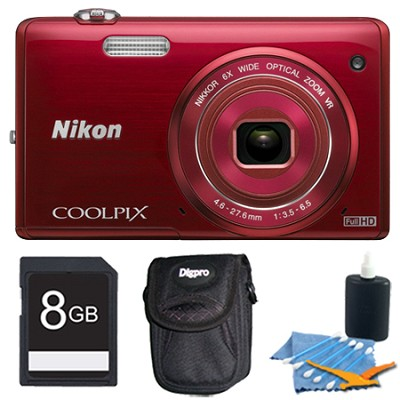 COOLPIX S5200 16 MP Built-In Wi-Fi Digital Camera - Red Plus 8GB Memory Kit