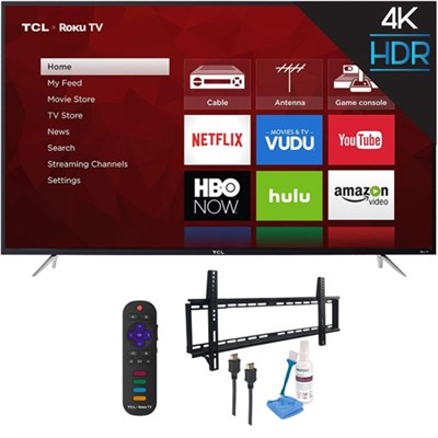 65` 4K 120Hz Ultra HD Dual Band Roku Smart LED TV Black with Wall Mount Kit