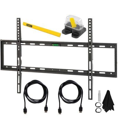 Flat Wall Mount Kit Ultimate Bundle for 45-90 inch TVs with Starter Kit