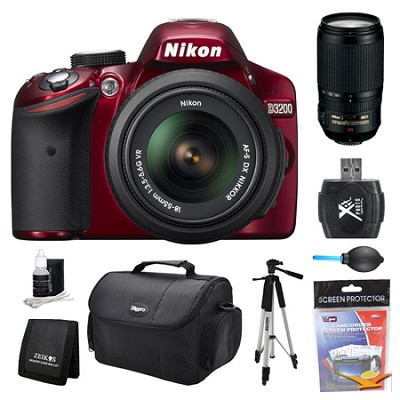 D3200 DX-Format Red Digital SLR Camera 18-55mm and 70-300mm AF-S VR Lens Kit