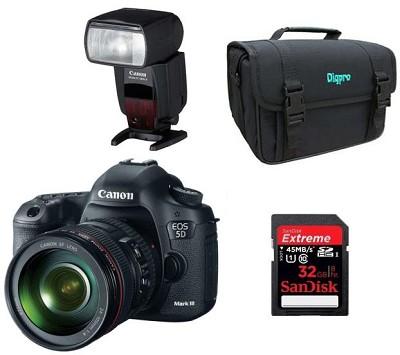 EOS 5D Mark III 22.3 MP Full Frame CMOS Digital SLR Camera 24-105mm Lens Pro Kit
