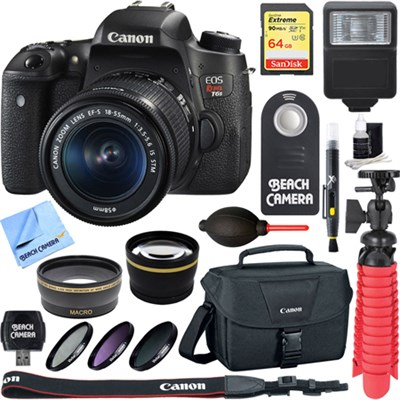 EOS Rebel T6s Digital SLR Camera + EF-S 18-55mm IS STM Lens Memory & Flash Kit