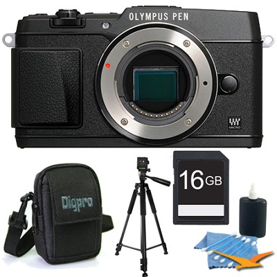 PEN E-P5 16MP Compact System Camera (Black)(Body Only) 16GB Memory Kit