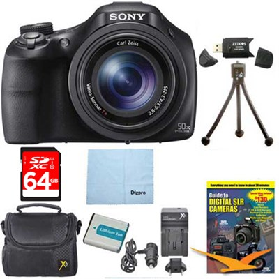 DSC-HX400V/B 50x Optiical Zoom 4K Stills Digital Camera 64GB Kit