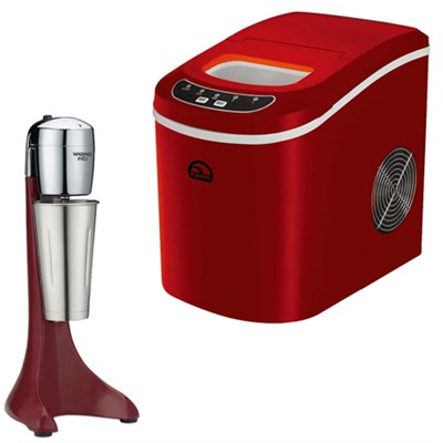 Compact Ice Maker (Red) w/ Waring Pro Chili Red Drink Mixer