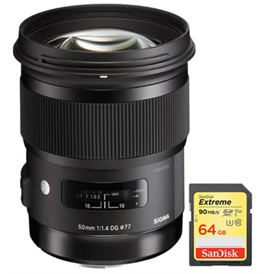 50mm f/1.4 DG HSM Lens for Sony A Cameras w/ Lexar 64GB Class 10 Memory Card