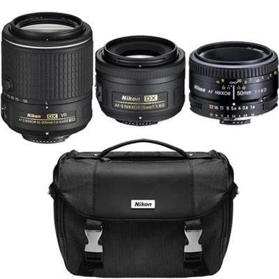 Super Three Lens Starter Bundle - 35mm, 50mm, & 55-200mm Zoom Lens (Refurbished)