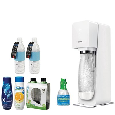 Source Home Soda Maker Starter Kit, White with Bundle