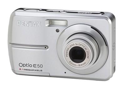Optio E50 8 MP 2.4` LCD 3x Zoom Digital Camera (Silver)