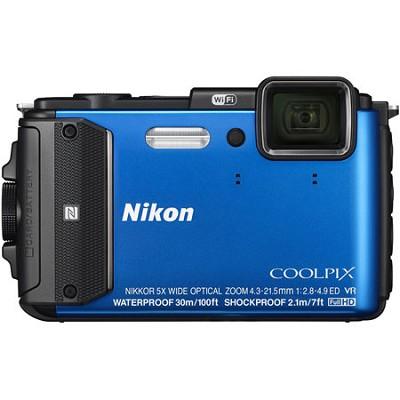 COOLPIX AW130 16MP 1080p Waterproof Shockproof Freezeproof Blue Digital Camera