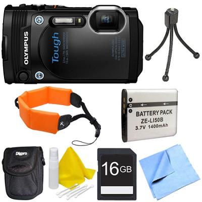 TG-860 Tough Waterproof 16MP Digital Camera w/ 3-Inch LCD - Black Deluxe Bundle