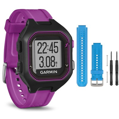 Forerunner 25 GPS Fitness Watch - Small - Black/Purple - Blue Band Bundle