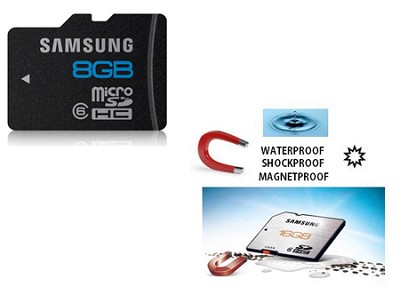 microSD High Speed 8GB Waterproof and Shockproof Class 6 Memory Card (Bulk)