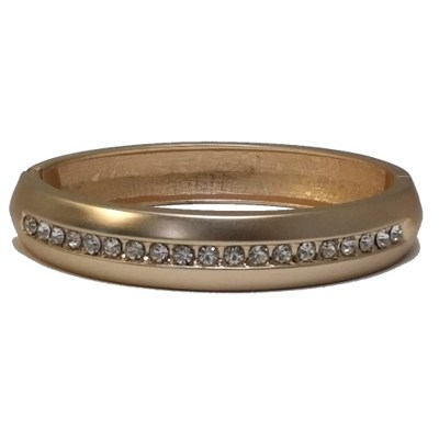 Swarovski Element Crystal , Plated 18k Gold Bangle with Clasp