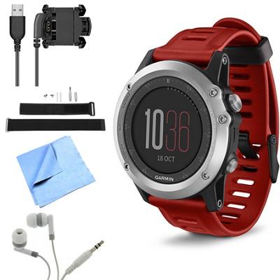 fenix 3 Multisport Training GPS Watch Silver Wrist Strap Kit Bundle