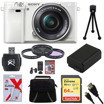Alpha a6000 White Camera with 16-50mm Power Zoom Lens 64GB Kit