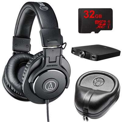 ATH-M30x Professional Headphones w/ Slappa Case, 32gb Micro SD & A3 Amp Bundle