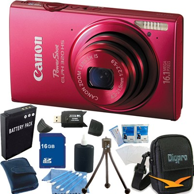 PowerShot ELPH 320 HS 16MP Red Digital Camera 16GB Bundle
